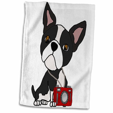 3dRose Funny Cute Boston Terrier Dog Taking Photos with Camera - Towel, 15 by 22-inch Boston Terrier Dog Custom Photo