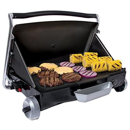 George Foreman GP200B Portable Propane Camp & Tailgate Grill, Portable Gas Grill, Camping Grill, Black George Foreman makes a propane grill? You bet we do! We know you like to make great food even when you're away from home, so we put the convenience and versatility of our electric grills into the Portable Propane Camp & Tailgate Grill. Take it to your gameday tailgate or on your next camping tripwherever you go, you'll enjoy 200 square inches of cooking space (12+ servings), a reversible and dishwashersafe grill/griddle plate (nonstick, of course!), and up to four hours of grilling with a 1lb. propane tank. Don't worry! We didn't forget our signature slope. You can keep the grilling surface flat or slant it to drain away excess fatit's up to you and your fellow feasters!  So when you head out on your next adventure, don't leave good eating behind! Take along the George Foreman Portable Propane Camp & Tailgate Grill and experience the joy of speedy, tasty food.SKU: