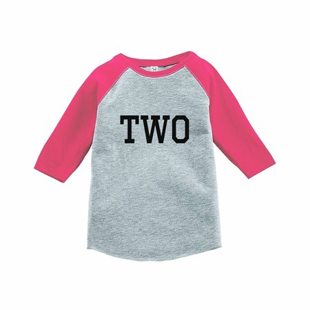 4t Clothing - 7 ate 9 Apparel Girl's Two Birthday Pink Raglan Tee - 4T