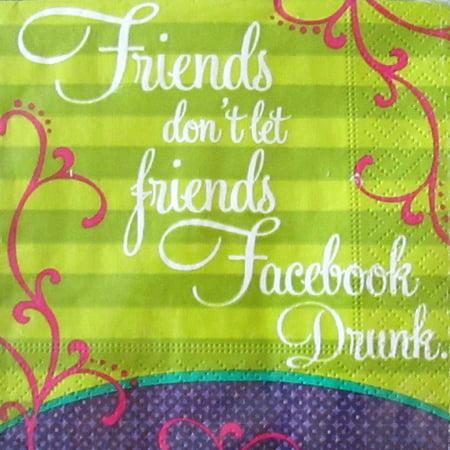 Bachelorette Party 'Drunk Facebook' Small Napkins (20ct) (Bachelorette Napkins)