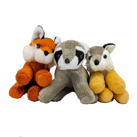 B-KIDS Bundle of 3 Stuffed Animals - North American Animal Grab Bag, Fox, Wolf and Racoon Animal Bundle (Mario Racoon)