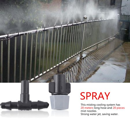 Sprayer Outdoor Garden Patio Water Misting Cooling System 20pcs Plastic Mist Sprinkler Nozzles 20 Meter Hose