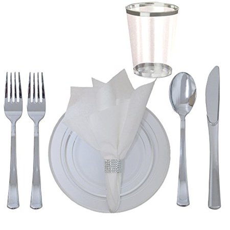 360 Piece Disposable Plastic Wedding Tableware Silverware Set. Silver Rimmed Dinner & Dessert Plates, Silver Cutlery Set, Silver Rimmed Tumblers, Linen Feel Napkins With Rhinestone Napkin Rings. - Wedding Plates And Silverware Disposable
