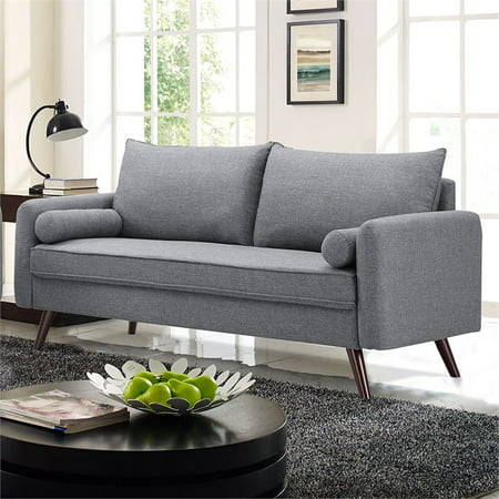 Lifestyle Solutions Mid-Century Modern Design Calden Upholstery fabric Sofa, Grey