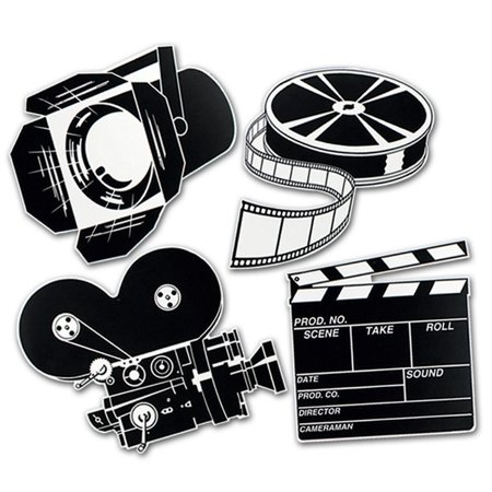 Movie Cutouts (Club Pack of 12 Black and White Movie Set Cutout Party Decorations)