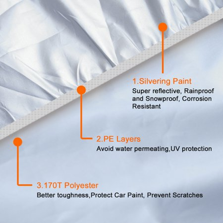 3XXL Silver Tone 170T Car Cover Waterproof Snow Heat Resistant w Mirror Pocket - image 3 of 9