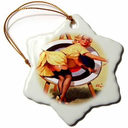 3dRose Print of Elvgren Pinup Near Miss Archery, Snowflake Ornament, Porcelain, 3-inch thumbnail
