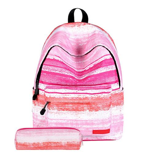 Stylish Printed School Backpack with Pencil Case for Teens Boys Girls