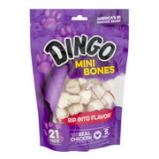 Dingo Mini Bones 21 Count, Rawhide For Dogs, Made With Real Chicken