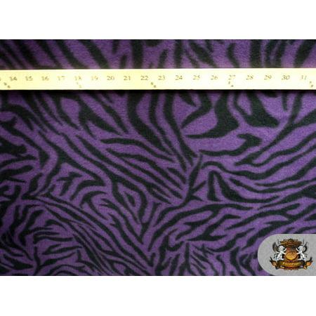 Fleece Fabric Printed Animal Print *Purple Zebra* By the Yard N-016
