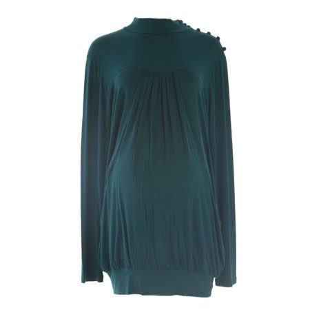 OLIAN Maternity Women's Front Pocket Mock Neck Tunic Top Olian Maternity Rayon Spandex
