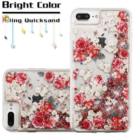 Apple iPhone 8 Plus, iPhone 7 Plus iPhone 6/6S Plus Phone Case BLING Hybrid Liquid Glitter Quicksand Rubber Silicone TPU Protector Hard Cover Rose Flower Case for Apple iPhone 7 - Protector Hard Case Rubber