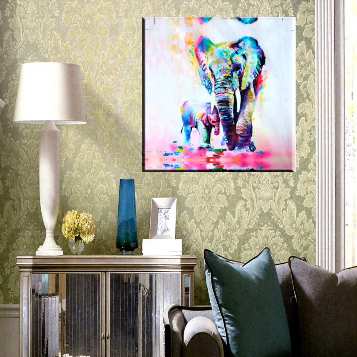MOHOO Unframed Print Canvas Elephant Oil Painting Picture Office Home Bedroom Wall Art Decor Watercolor ,20×20 inch