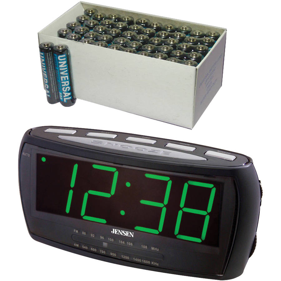 Jensen JCR-208 AM/FM Alarm Clock Radio, Includes 50 AAA Batteries