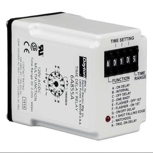 DAYTON 6A855 Timer Relay, 999 hr., 11 Pin, 10A, DPDT, 120V