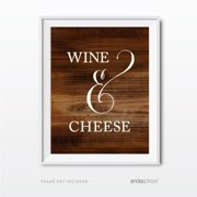 Wine & Cheese Rustic Wood Wedding Party Signs