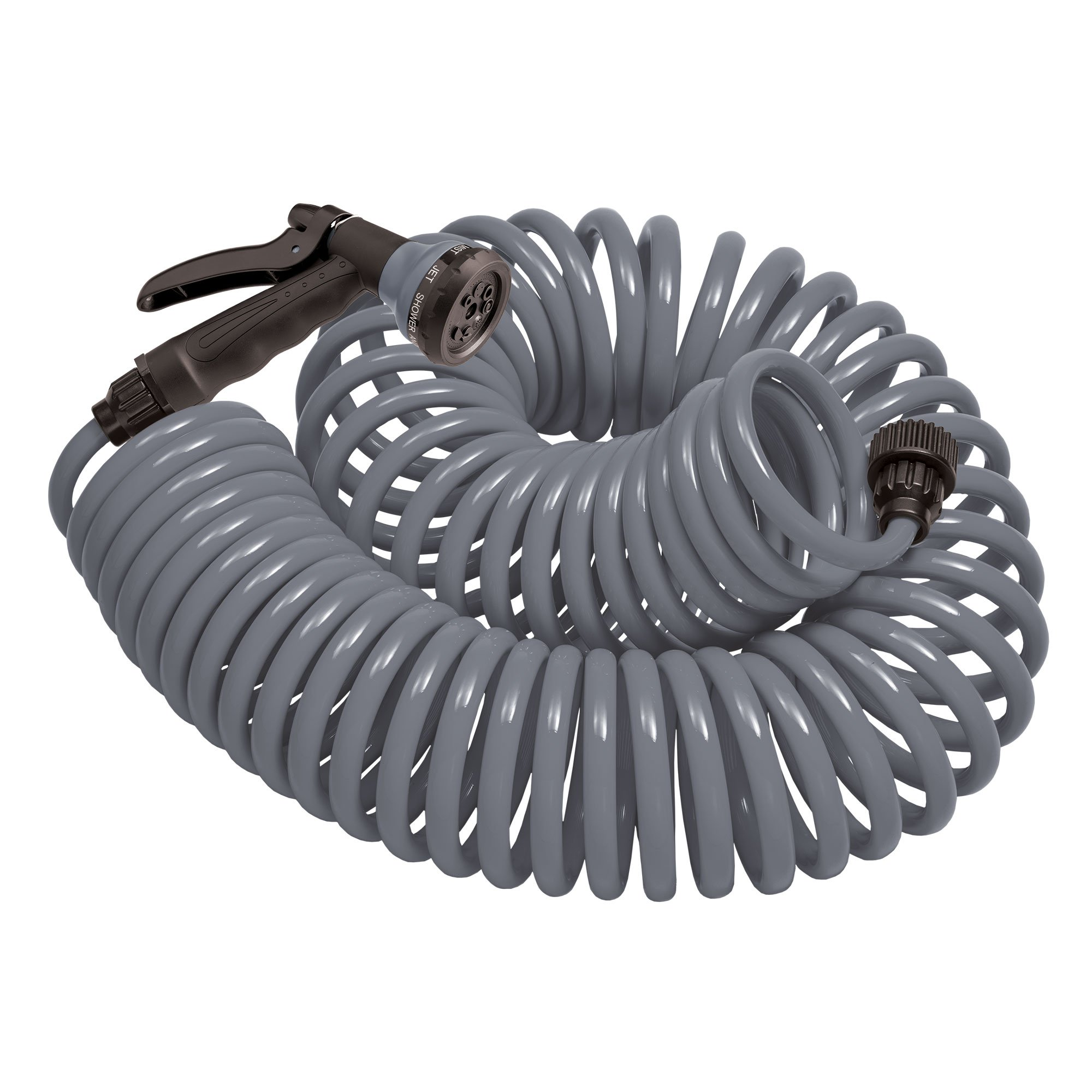 Orbit 50 Foot Gray Coil Garden Hose with ABS Threads and 8 Spray Pattern Nozzle