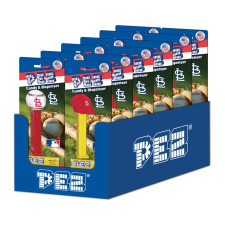 PEZ Candy MLB: St. Louis Cardinals, candy dispenser with 3 rolls of assorted fruit candy, box of (Viburnum Cardinal Candy)