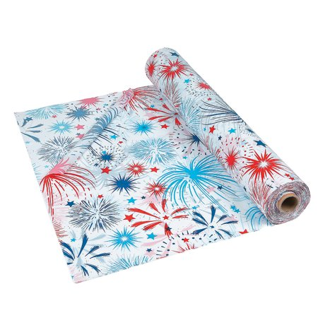 Fun Express - Patriotic Burst Tablecloth Roll for Fourth of July - Party Supplies - Table Covers - Print Table Rolls - Fourth of July - 1 - Roll Of Tablecloth