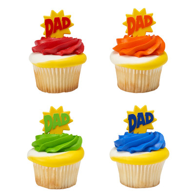 DAD Bursts Red Orange Green Blue Assortment Father's Day -24pk Cupcake / Desert / Food Decoration Topper Picks with Favor Stickers & Sparkle Flakes