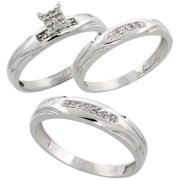 sterling silver diamond trio wedding ring set his 45mm hers 35mm rhodium finish - Wedding Ring Trios