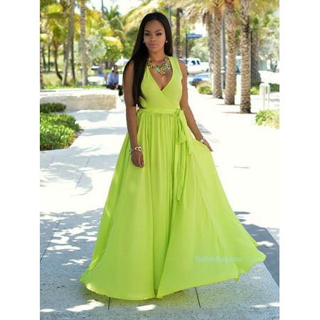 (Women Summer Soft Chiffon Dress Sexy Beach Split Dress Long Maxi BOHO Evening Party Dress Casual Dress Beach Long Dresses Skirts Holiday Part Wear for Ladies Women Girls)