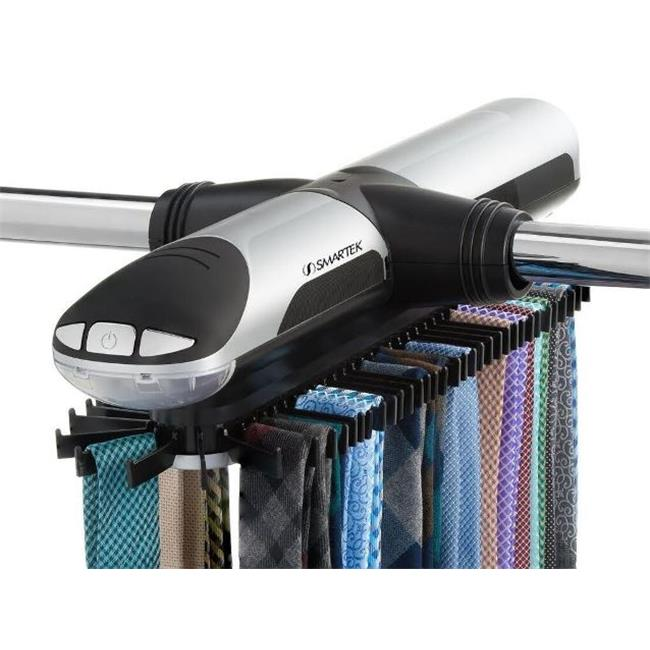 Smartek ST-800 Motorized Tie Rack with Built in LED Light - Fits More Than 70 Ties & Belts - Silver & Black