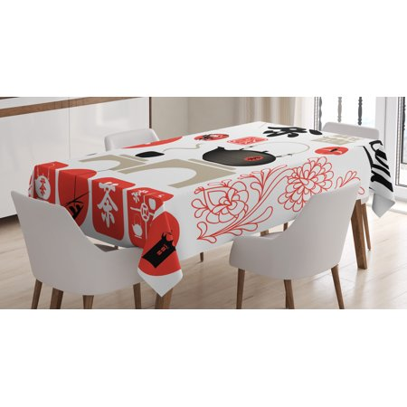 Tea Party Tablecloth, Japanese Design with Cultural Elements Flowers Fuji Mountain Tea Pot, Rectangular Table Cover for Dining Room Kitchen, 60 X 90 Inches, Vermilion Black Beige, by Ambesonne - Tea Party Table