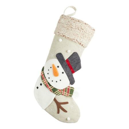 Holiday Time Snowman Linen Christmas Stocking, 18