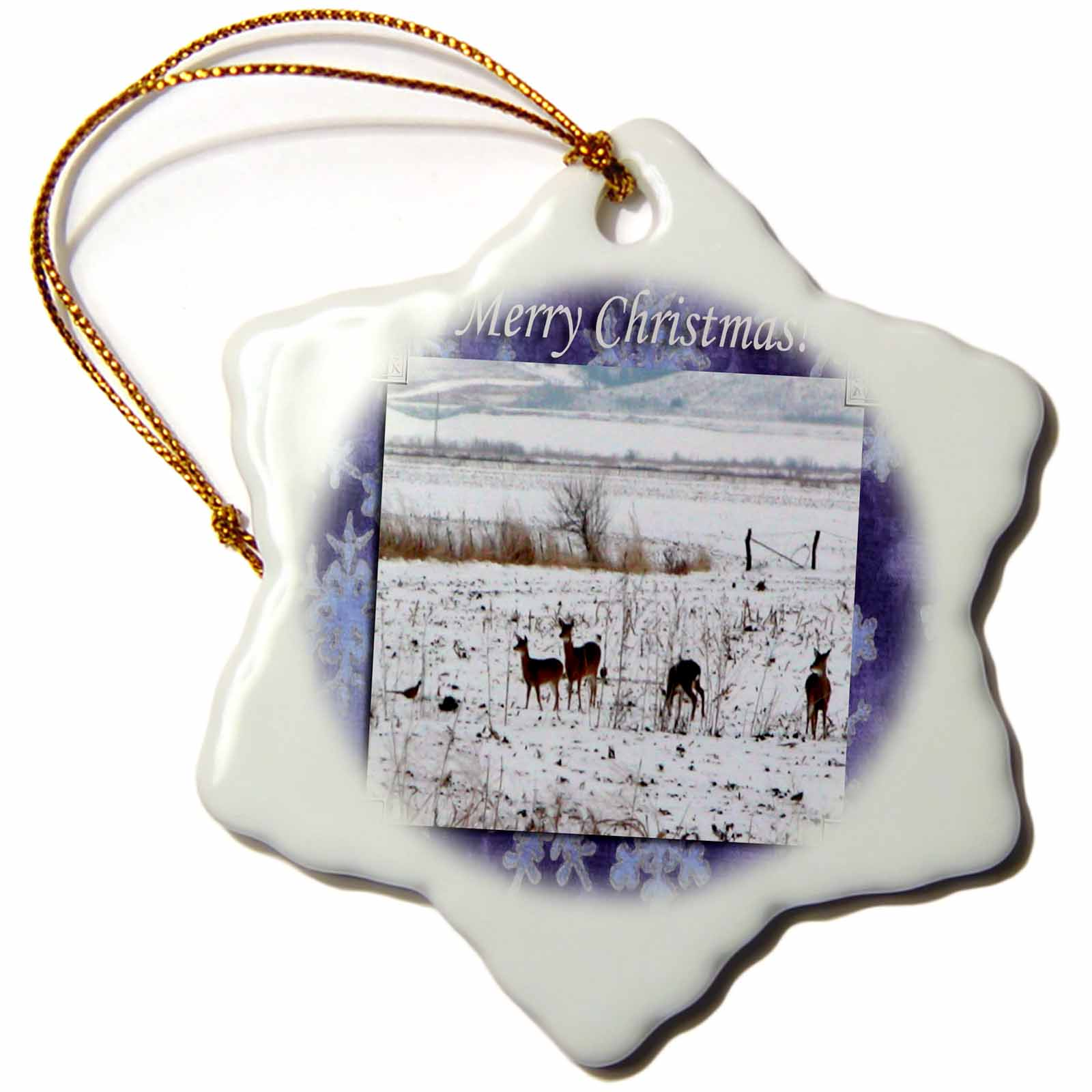 3dRose Deer Family and Pheasants Playing in the Snow Merry Christmas, Snowflake Ornament, Porcelain, 3-inch