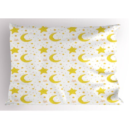 Yellow and White Pillow Sham Sleeping Crescent Moon and Stars Pattern Night Time Cartoon Illustration, Decorative Standard Queen Size Printed Pillowcase, 30 X 20 Inches, Yellow White, by Ambesonne](Crescent Moon Cartoon Halloween)