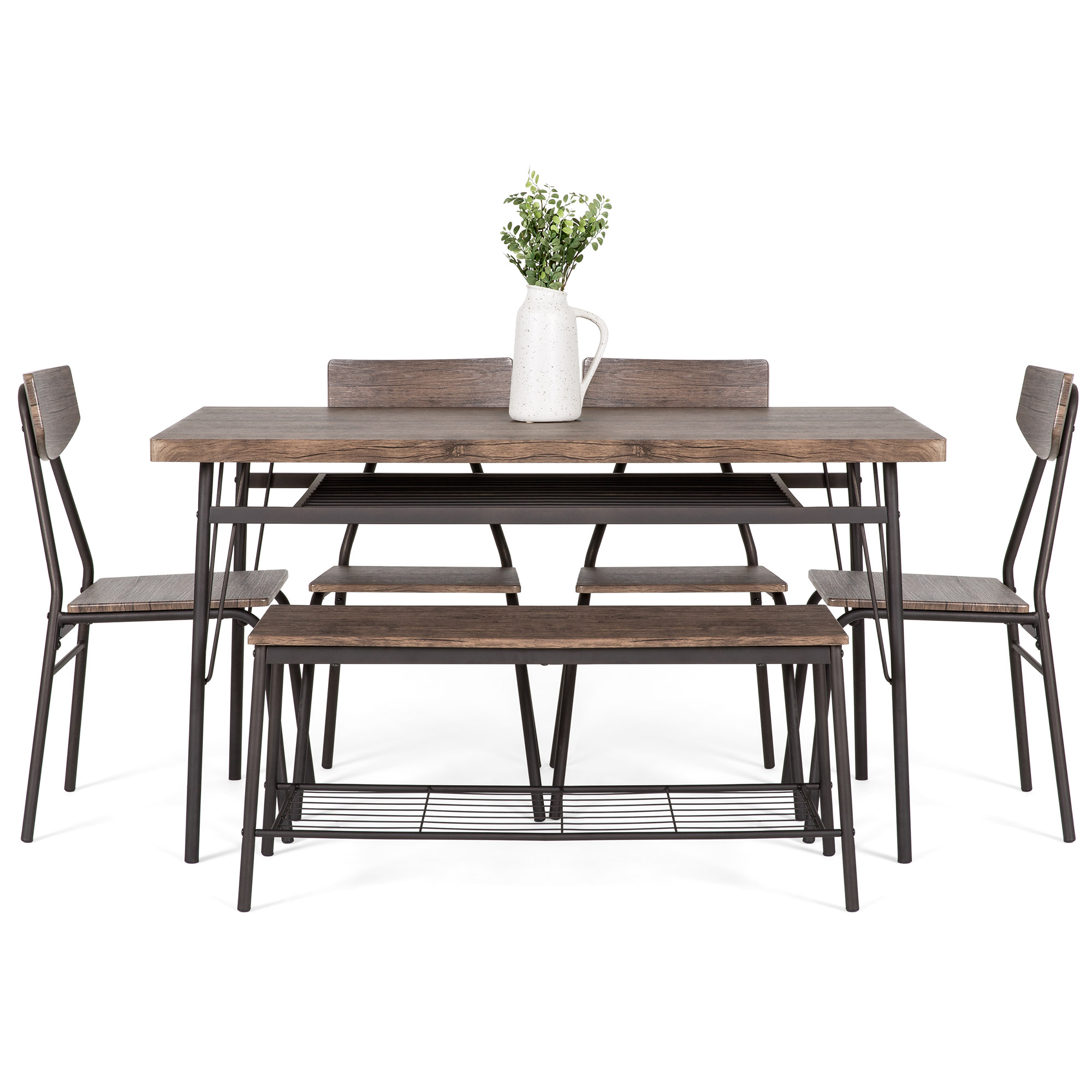 Marvelous Best Choice Products 6 Piece 55In Modern Wood Dining Set For Home Kitchen Dining Room W Storage Racks Rectangular Table Bench 4 Chairs Steel Onthecornerstone Fun Painted Chair Ideas Images Onthecornerstoneorg