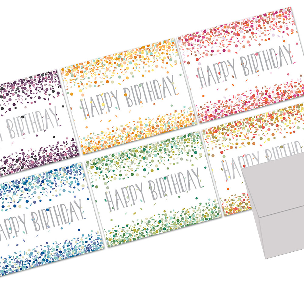 72 Birthday Note Cards - Confetti Birthday - Blank Cards  - Gray Envelopes Included