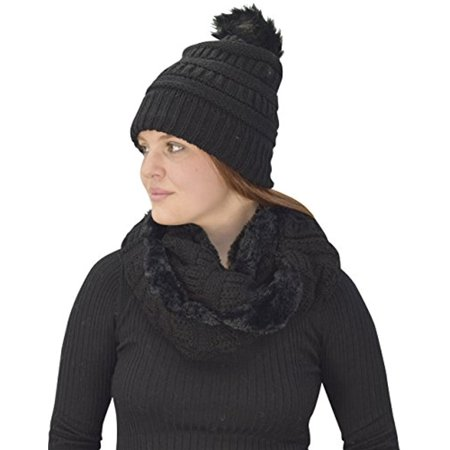 Peach Couture Thick Crochet Weave Beanie Hat Plush Infinity Loop Scarf 2 Pack Black 99](Ga Peach Hats)
