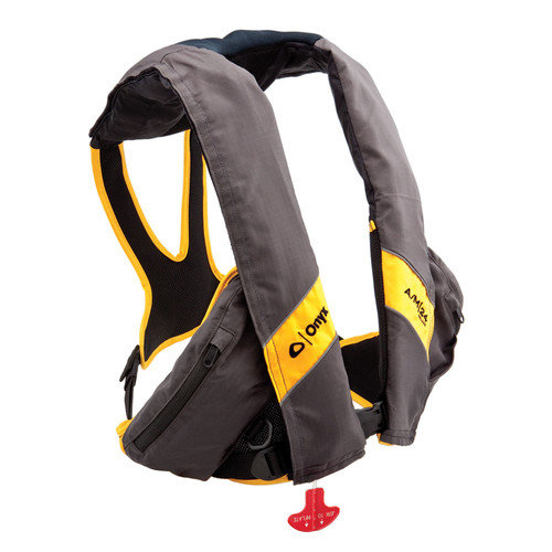 Onyx A/M 24 Deluxe Automatic / Manual Inflatable Life Jacket PFD in Carbon/Yellow