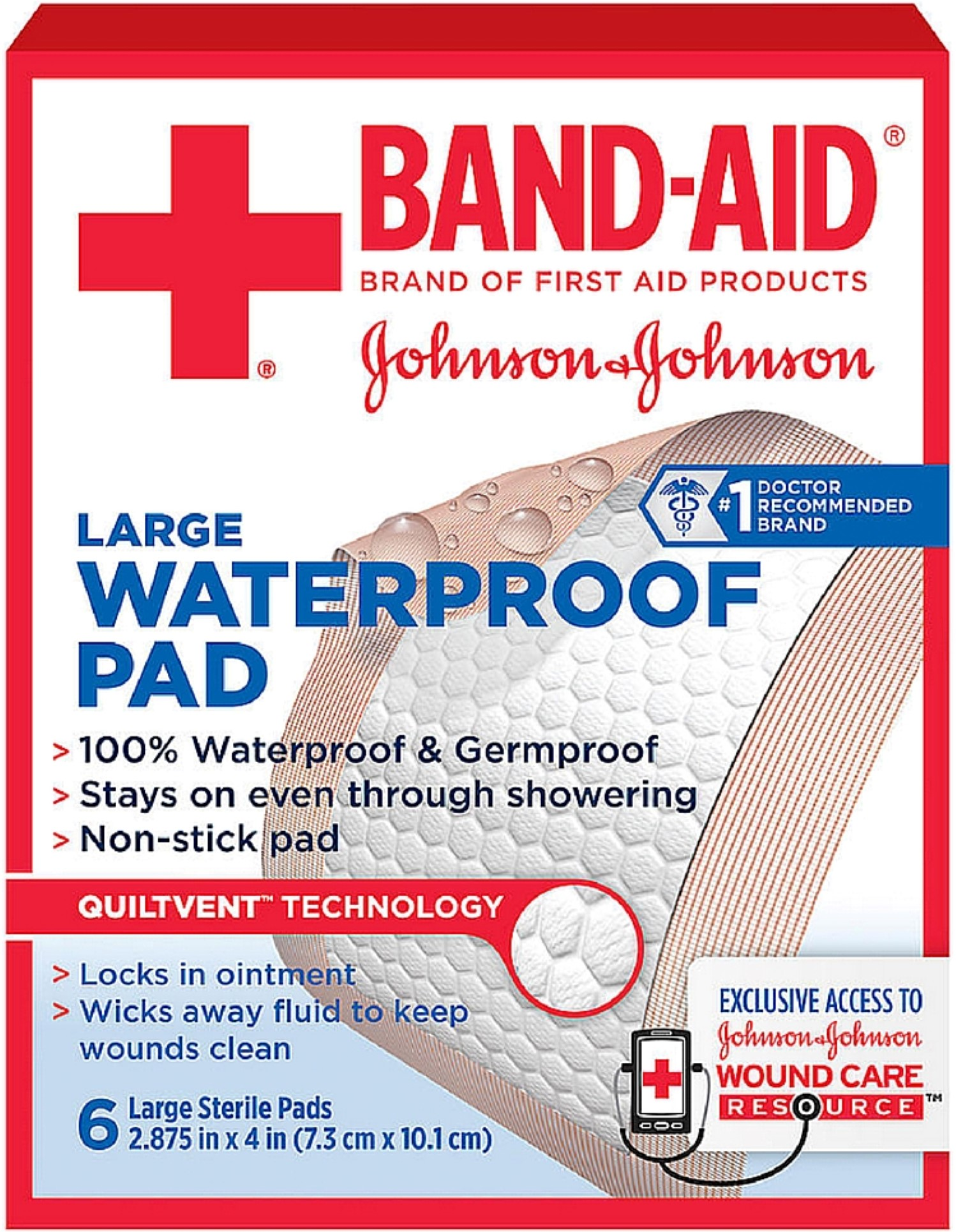 BAND-AID First Aid Sterile Waterproof Pads, Large 6 ea (Pack of 2) by