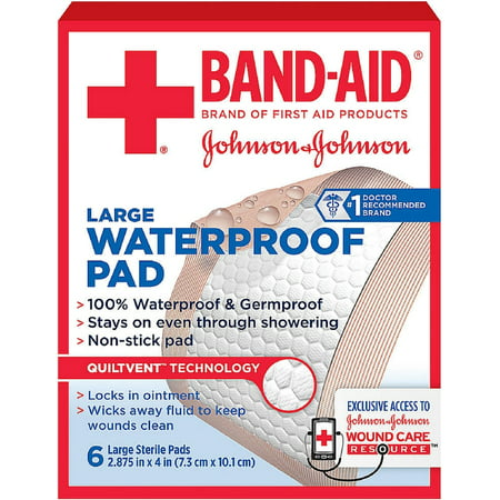 BAND-AID First Aid Sterile Waterproof Pads, Large 6 ea