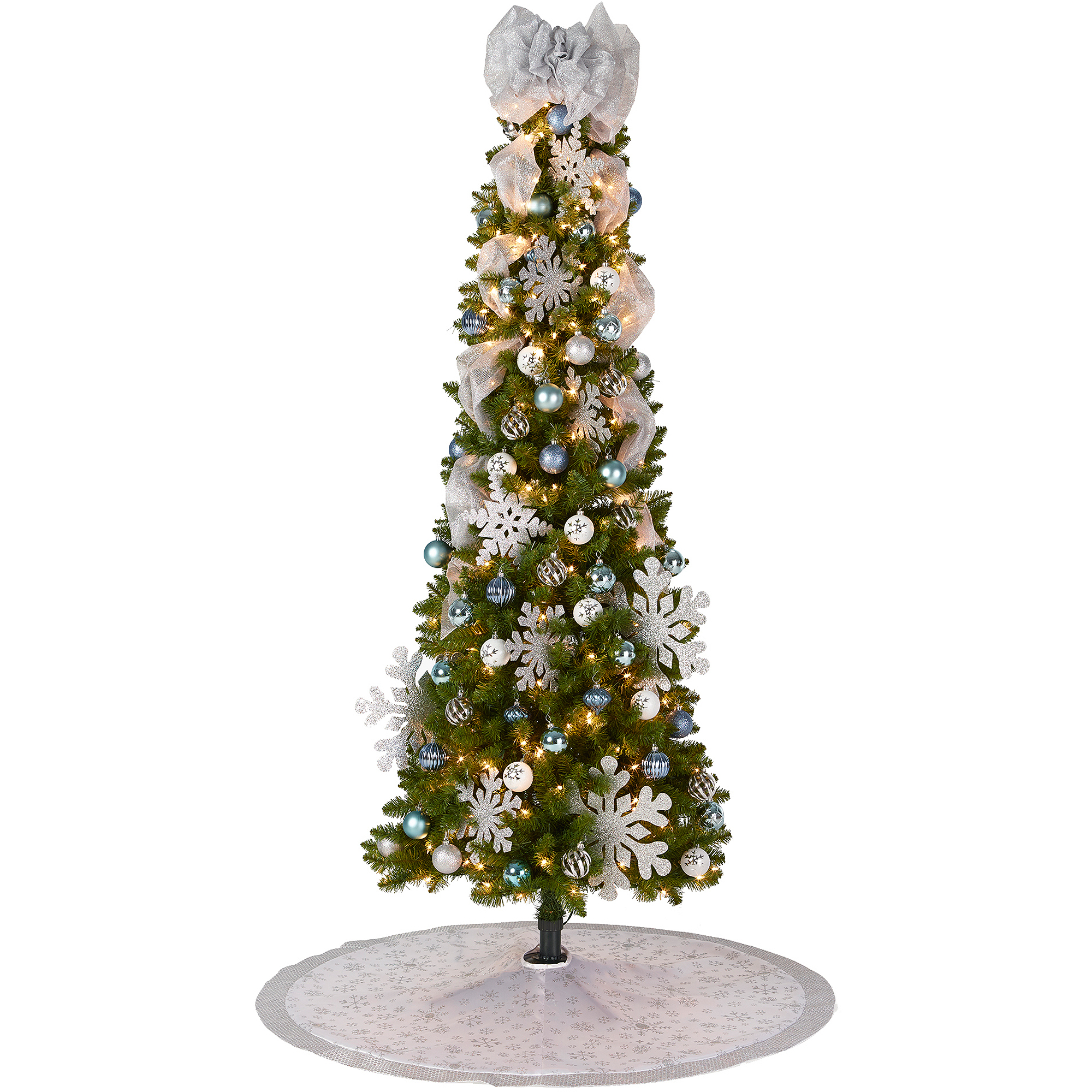 7' Pre-Lit Brinkley Pine Christmas Tree with Colonial Blue Decoration Kit