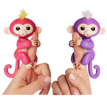 Fingerlings Interactive Baby Monkeys 2 Pack Mia Purple With White Hair Bella