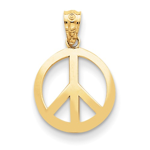 14k Yellow Gold Polished Peace Sign Circle Pendant