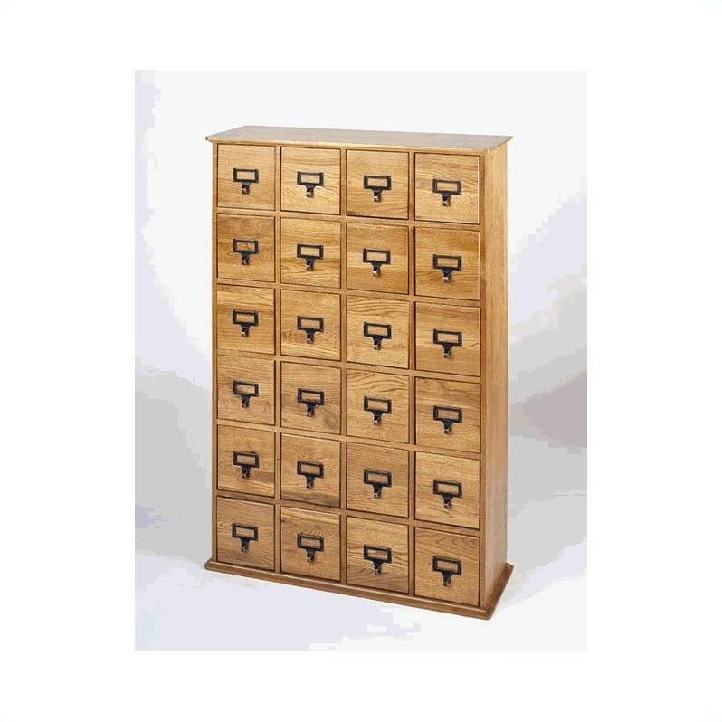 "Leslie Dame 40"" 24-Drawer Storage Cabinet in Oak"