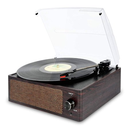 Bluetooth Record Player Belt-Driven 3-Speed Turntable, Vintage Vinyl Record Players Built-in Stereo Speakers, with Headphone Jack/ Aux Input/ RCA Line Out, Brown