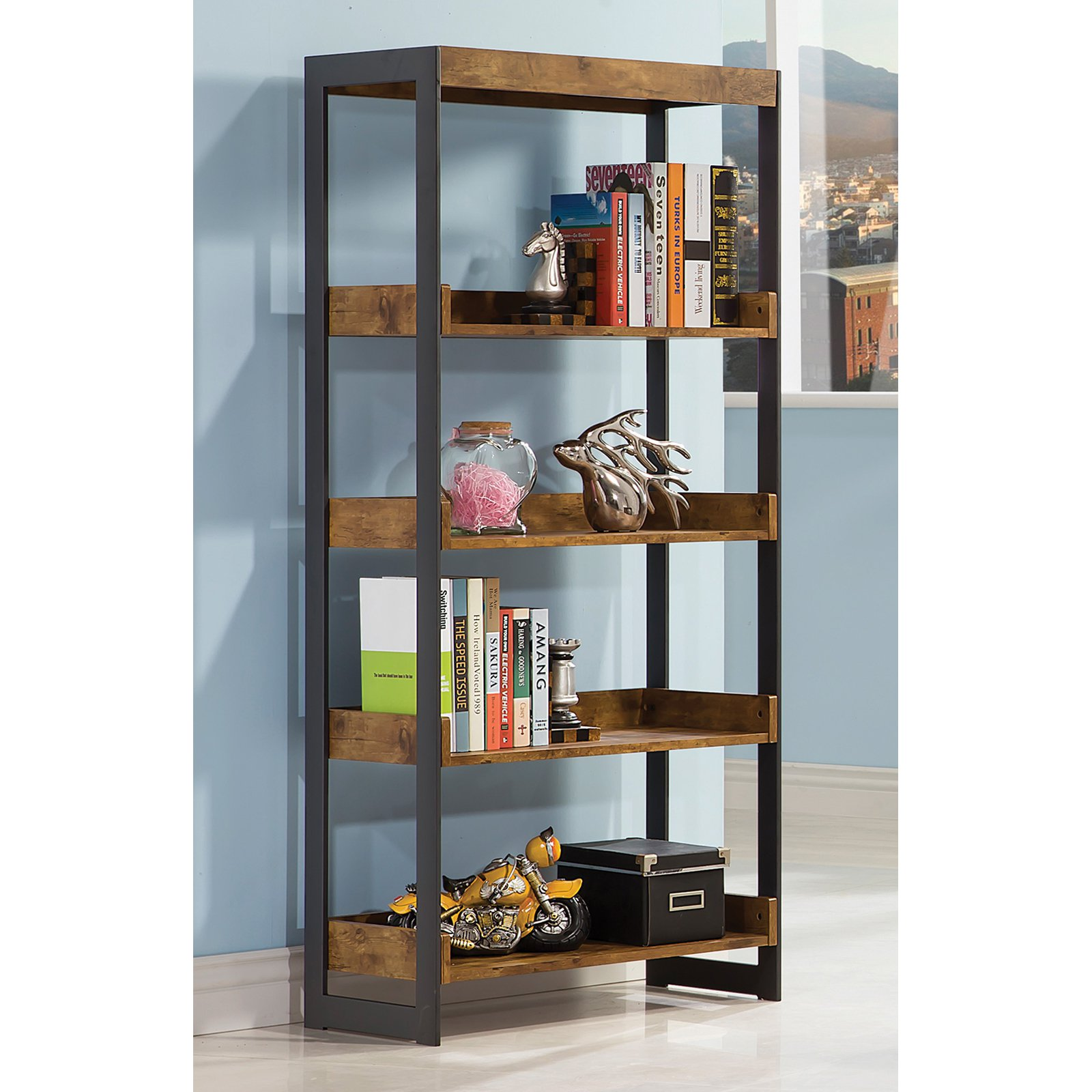 Coaster Company Bookcase, Antique Nutmeg/Gunmetal