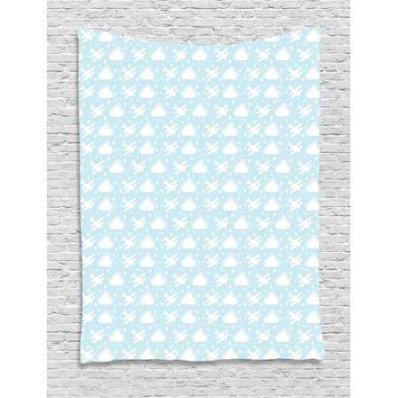 Baby All Stars Wall Hanging (Nursery Airplane Tapestry, Baby Kintergarden Theme Pattern Biplanes Amoung Clouds Stars Dots, Wall Hanging for Bedroom Living Room Dorm Decor, 40W X 60L Inches, Baby Blue and White, by Ambesonne )