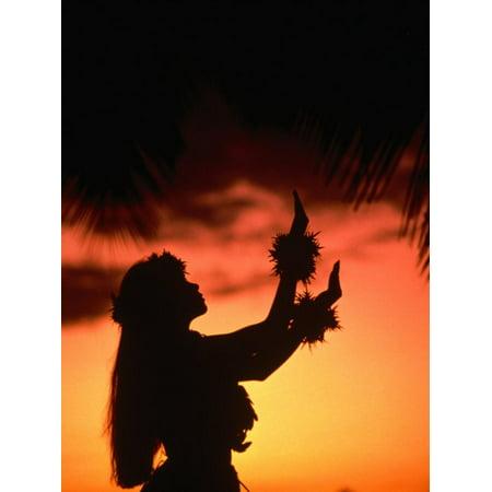 Silhouette of Hula Dancer on Waikiki Beach at Sunset, Waikiki, U.S.A. Print Wall Art By Ann Cecil