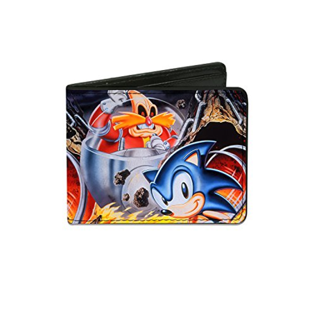 Men'sSonic Classic Wallet Doctor Eggman & Sonic Pose Flames, -Multi, One Size ()