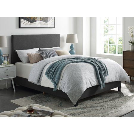 DHI Upholstered Apartment Platform Bed, Grey, Multiple Sizes