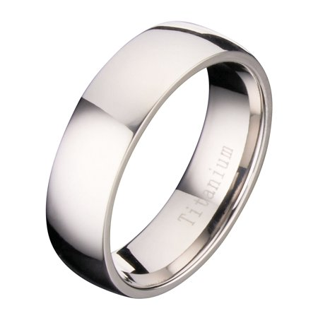 7MM Polished Comfort Fit Titanium Wedding Ring Band