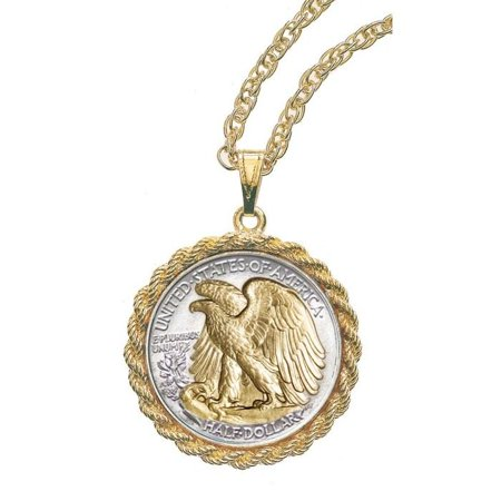 Gold-Layered Silver Walking Liberty Half Dollar Rope Coin Pendant ()
