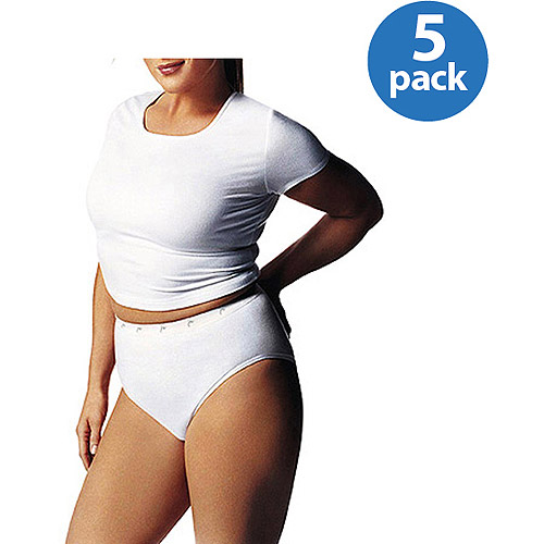 Just My Size Women's Cotton Tagless Hi-Cut Panties 5-Pack